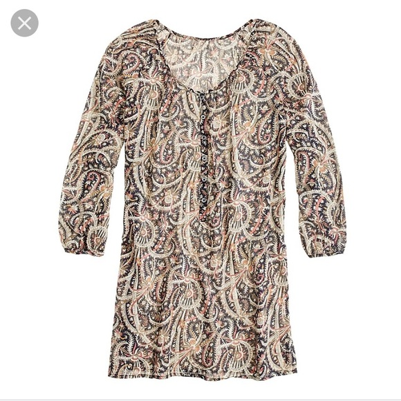 J. Crew Other - J Crew Feather Paisley Tunic Beach Cover Up